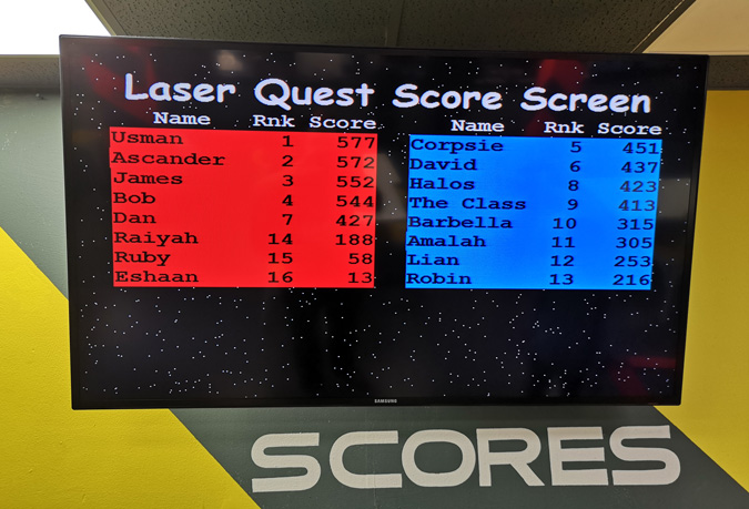 Scores at Laser Tag